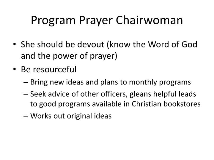 Program Prayer Chairwoman