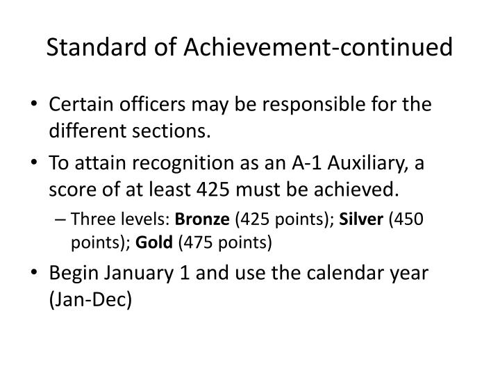 Standard of Achievement-continued