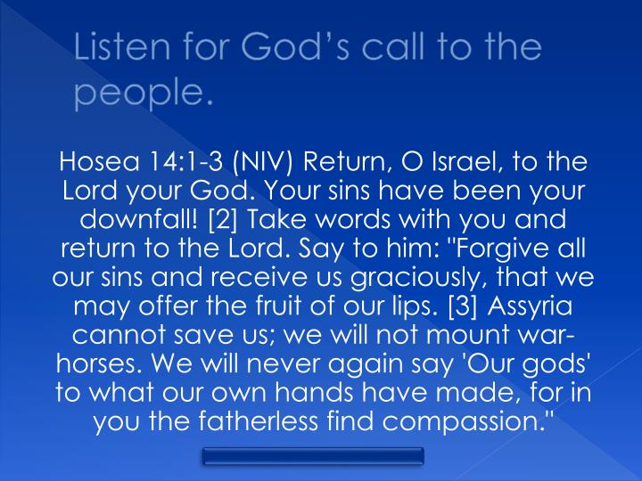 Listen for God's call to the people