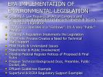 epa implementation of environmental legislation