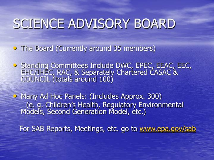 SCIENCE ADVISORY BOARD