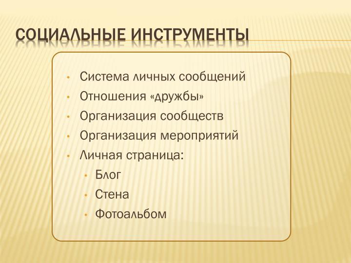 Система личных сообщений