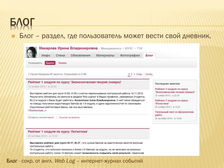 Блог – раздел, где пользователь может вести свой дневник.