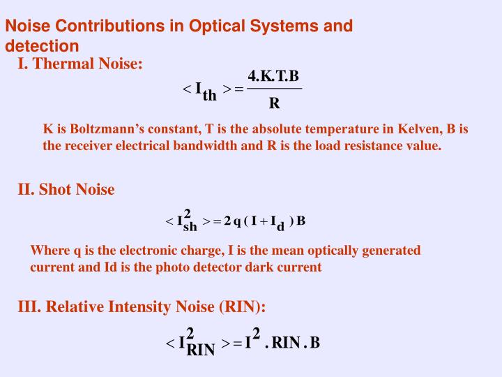 Noise Contributions in Optical Systems and detection