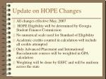 update on hope changes
