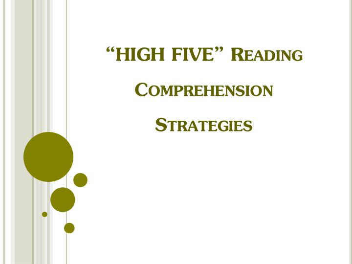 """""""HIGH FIVE"""" Reading Comprehension Strategies"""