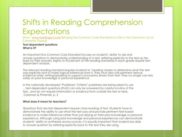 Shifts in Reading Comprehension Expectations
