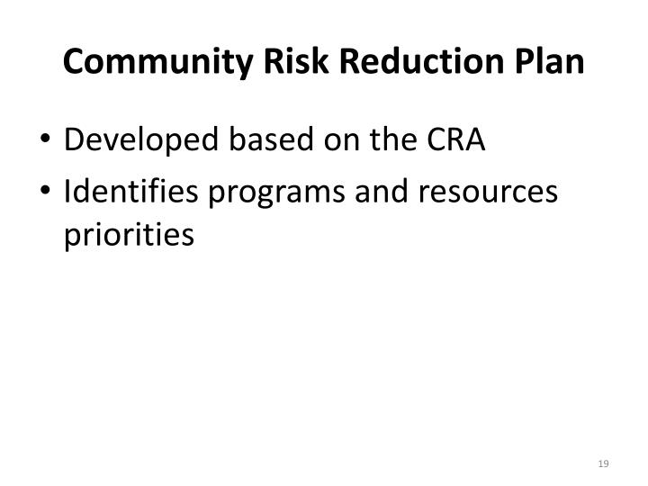 Community Risk Reduction Plan