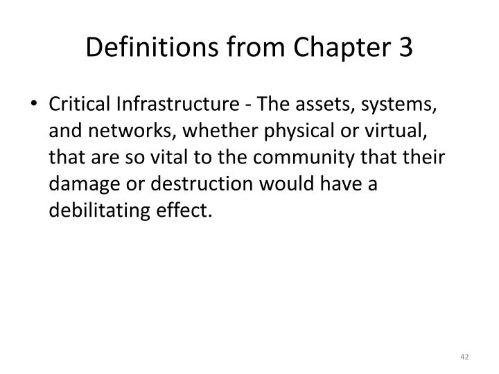 Definitions from Chapter 3