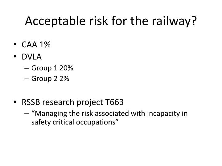 Acceptable risk for the railway?