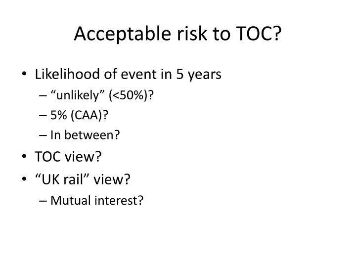 Acceptable risk to TOC?
