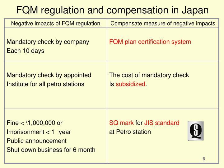 FQM regulation and compensation in Japan