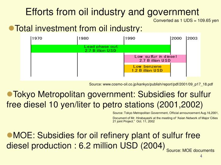 Efforts from oil industry and government