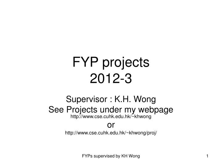 Fyp projects 2012 3