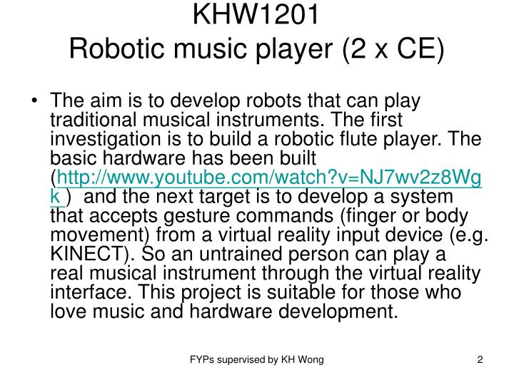 Khw1201 robotic music player 2 x ce