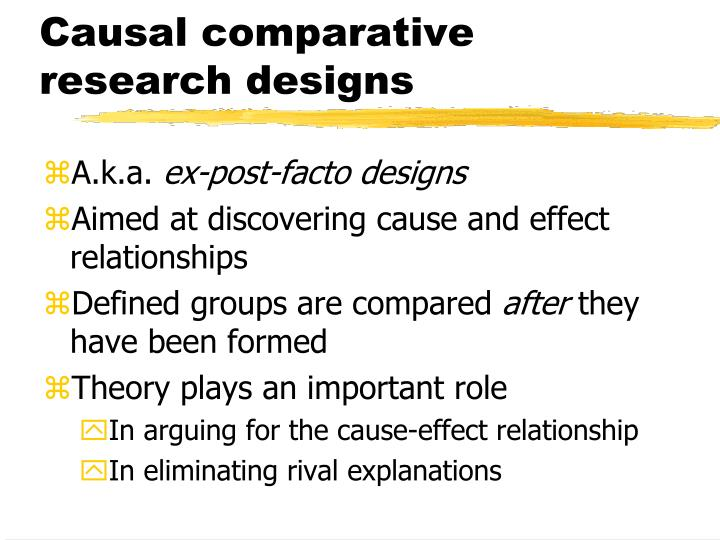 Causal comparative research designs