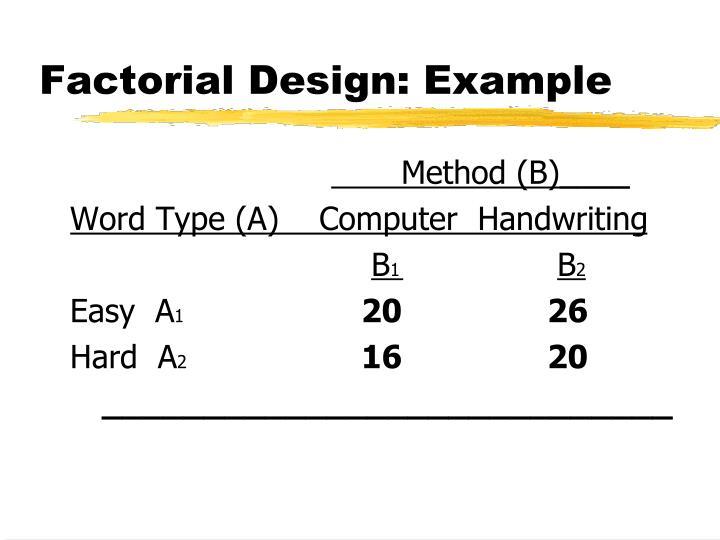 Factorial Design: Example