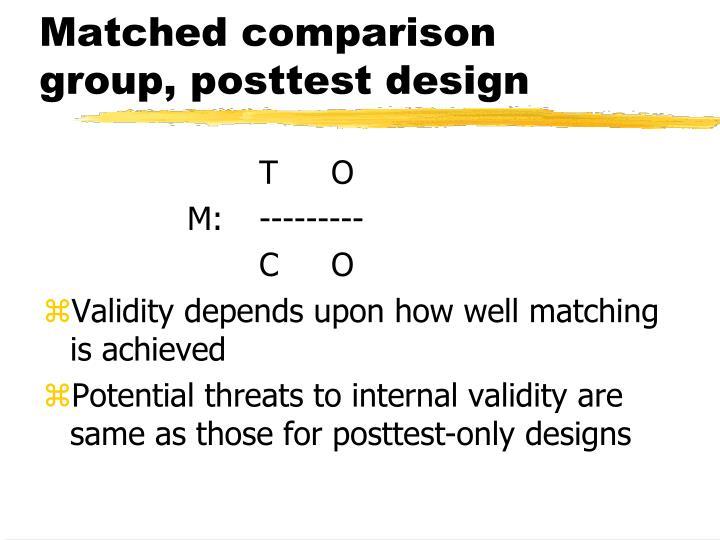 Matched comparison group, posttest design