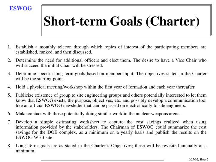 Short-term Goals (Charter)