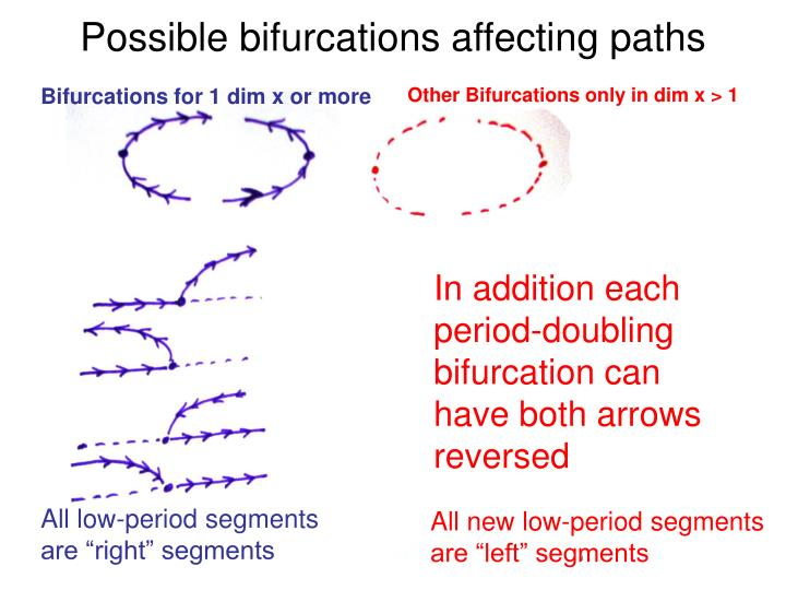 Possible bifurcations affecting paths