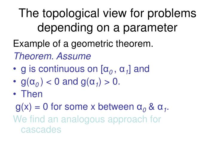 The topological view for problems depending on a parameter