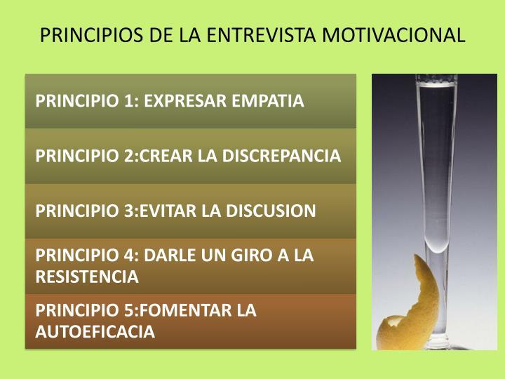 PRINCIPIOS DE LA ENTREVISTA MOTIVACIONAL