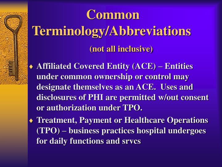 Common Terminology/Abbreviations