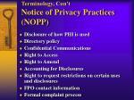 terminology con t notice of privacy practices nopp