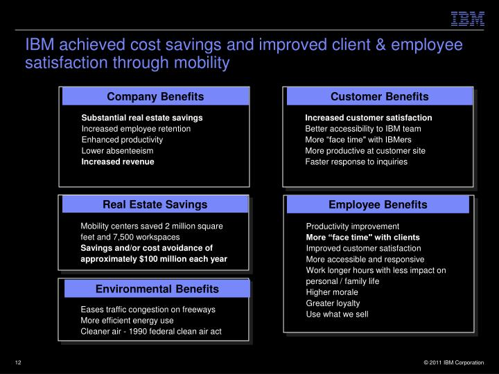 IBM achieved cost savings and improved client & employee satisfaction through mobility