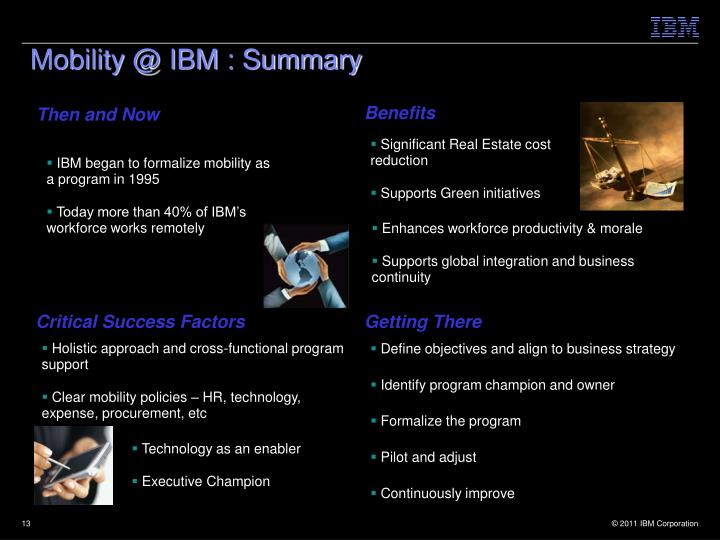 Mobility @ IBM : Summary