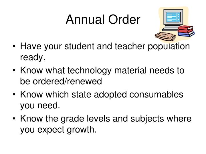 Annual Order