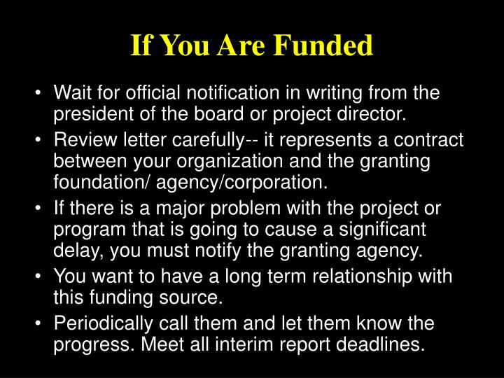 If You Are Funded