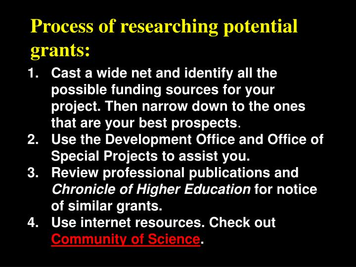 Process of researching potential grants: