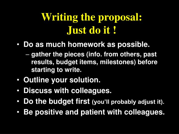 Writing the proposal: