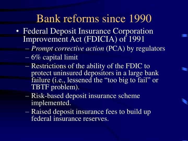 Bank reforms since 1990