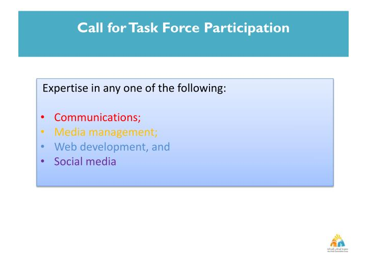 Call for Task Force Participation
