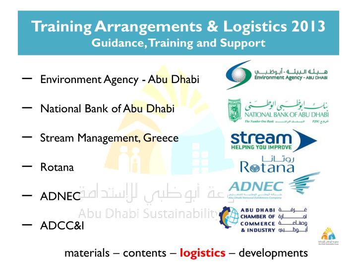 Training Arrangements & Logistics 2013
