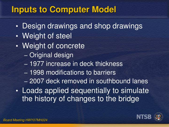 Inputs to Computer Model