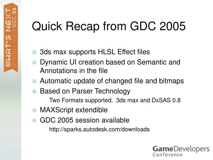 Quick Recap from GDC 2005