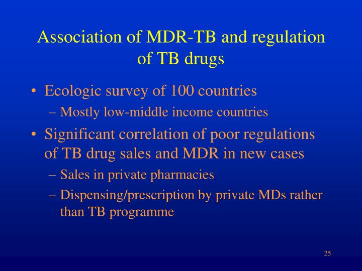 Association of MDR-TB and regulation of TB drugs