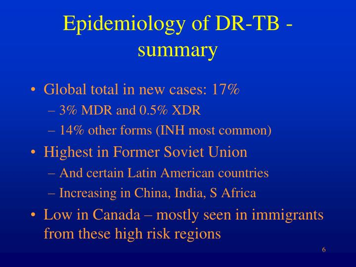 Epidemiology of dr tb summary
