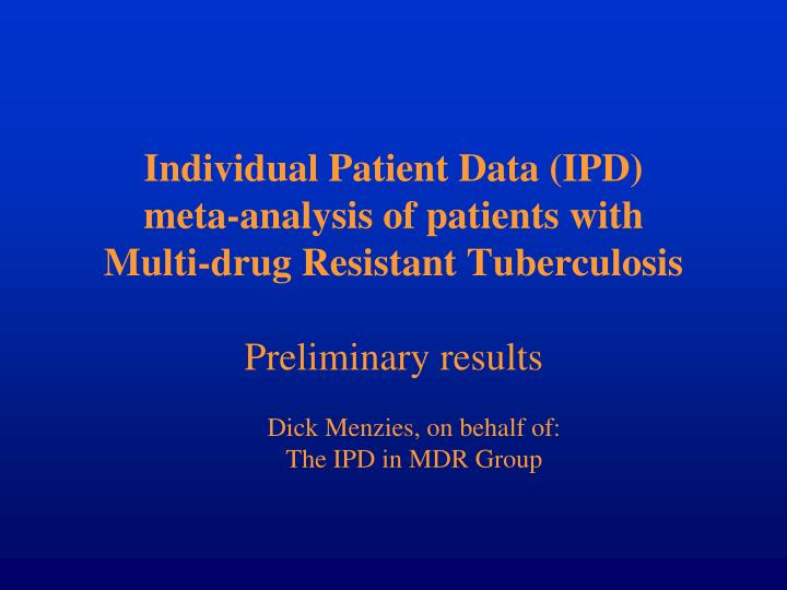 Individual Patient Data (IPD)