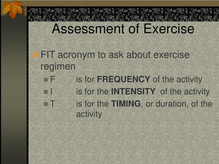 Assessment of Exercise
