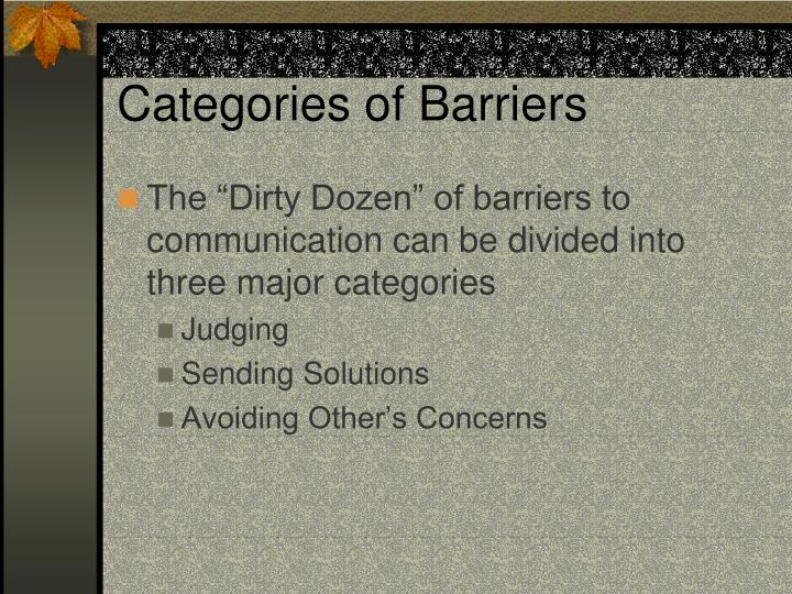 Categories of Barriers