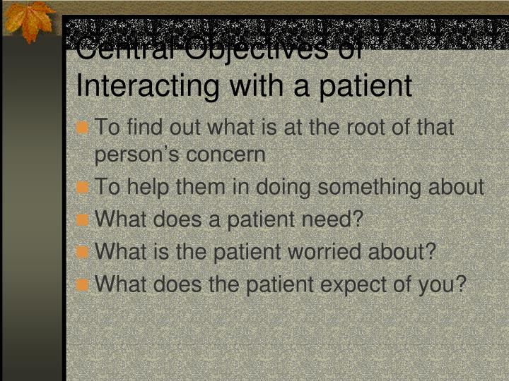 Central Objectives of Interacting with a patient