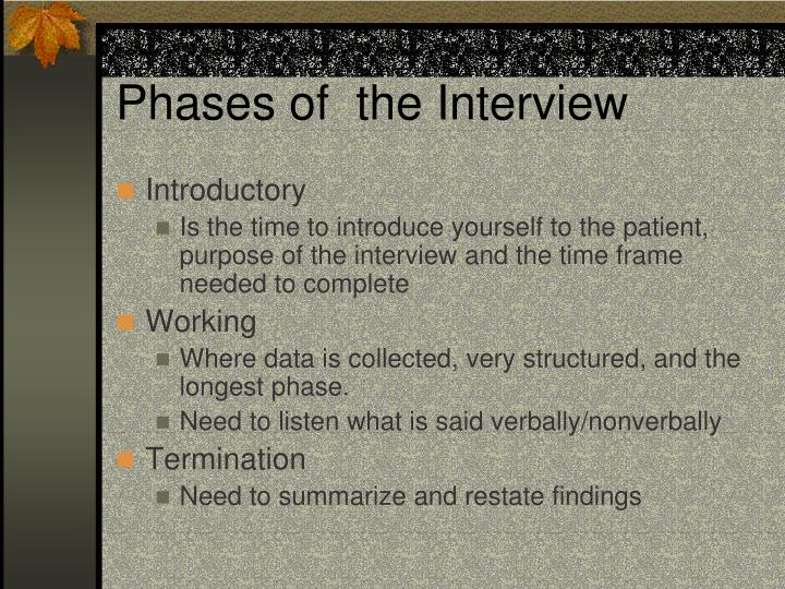 Phases of  the Interview
