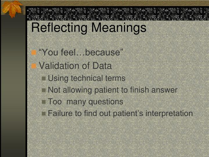 Reflecting Meanings