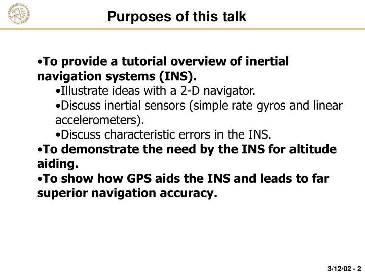 Purposes of this talk