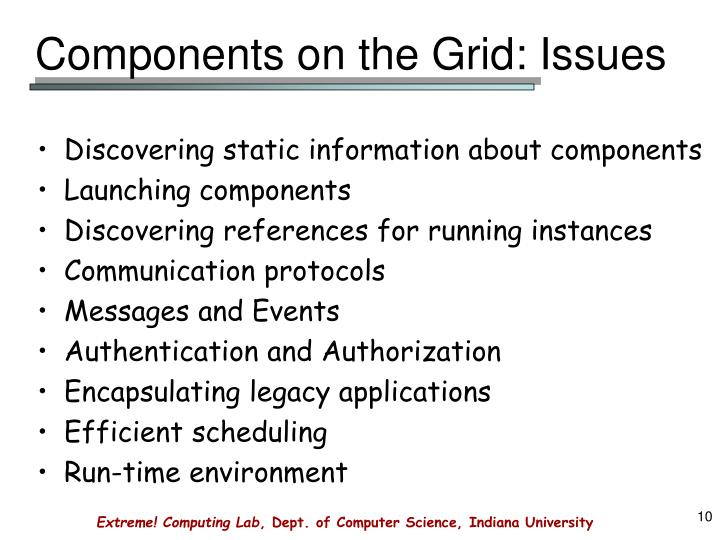 Components on the Grid: Issues