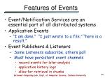 features of events